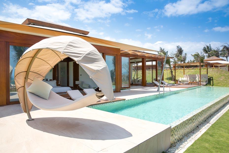 2BR pool villa exterior and hammock